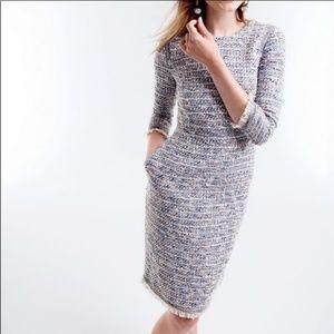 J. Crew Multicolor Tweed Dress w/ Fringe & Pockets